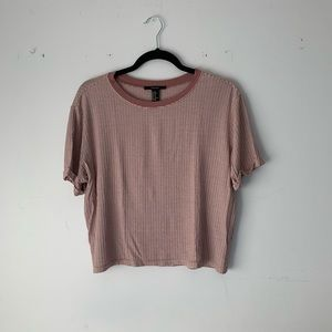 Forever 21   mauve pink striped crop top